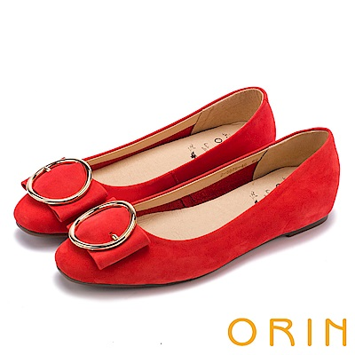 ORIN 甜美素雅 牛皮金屬圓型釦環平底娃娃鞋-紅色