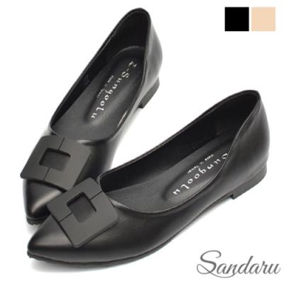 山打努SANDARU-尖頭鞋 美型方扣素面平底鞋-黑