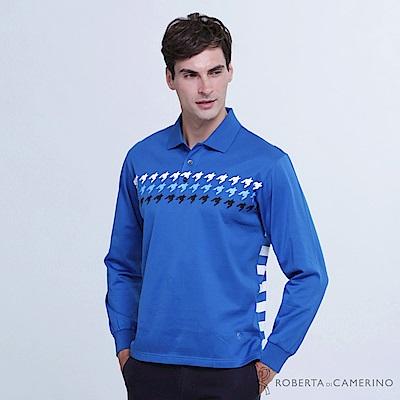 ROBERTA諾貝達 台灣製 潮流型男 合身版 千鳥條紋拼色長袖POLO棉衫 藍