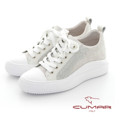 【CUMAR】閃耀亮鑽舒適綁帶厚底休閒鞋-白