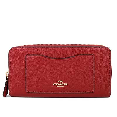COACH 馬車Logo鵝卵石紋防刮皮革ㄇ型拉鍊前袋式長夾(正紅色)