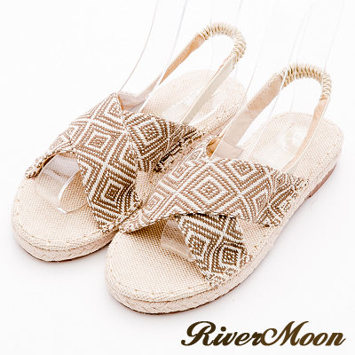 River&Moon涼鞋-交叉幾何麻編織涼鞋-綠系