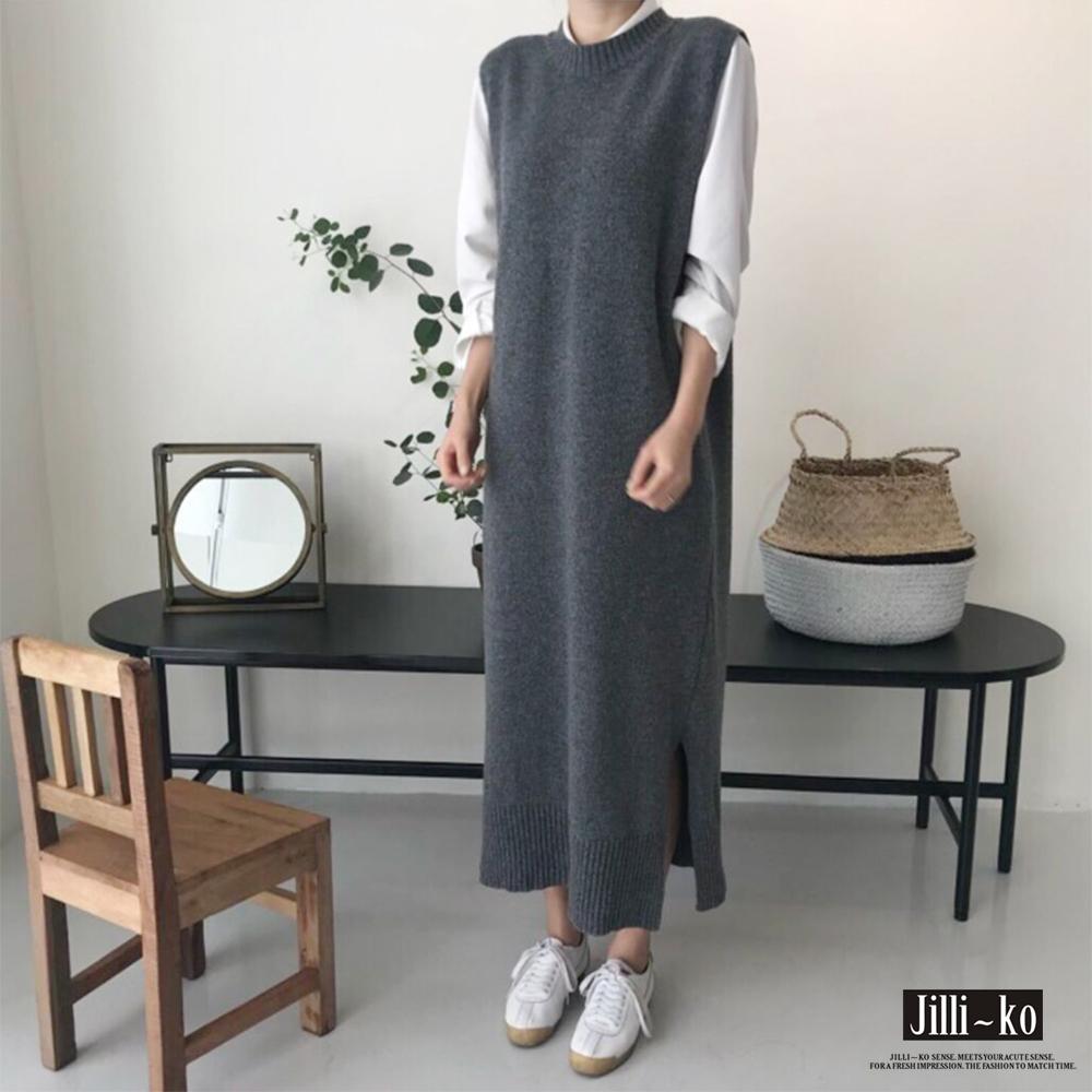 Jilli-ko 韓版INS長款馬甲針織連衣裙-深灰