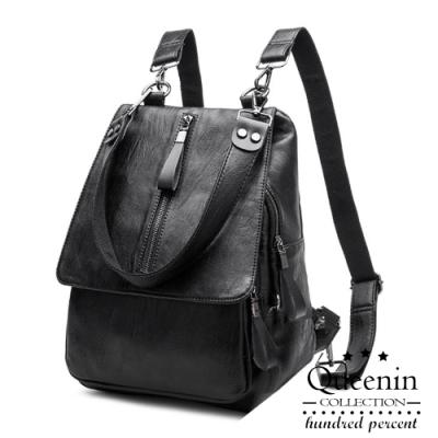 DF Queenin日韓 - 韓系仿皮質感魅力2way側背後背包