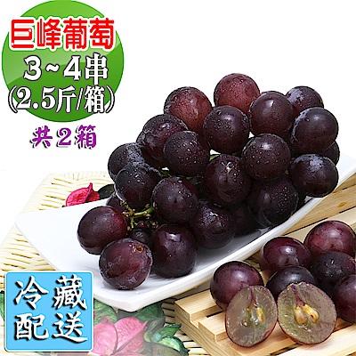 愛蜜果 巨峰葡萄3-4串箱裝 共2箱~約2.5斤/每箱(冷藏配送)