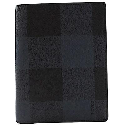 COACH 格紋圖樣PVC簡約護照夾(藍黑)