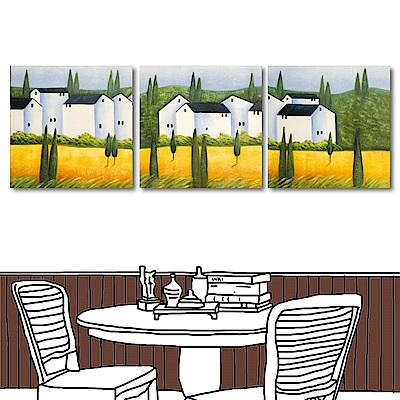 橙品油畫布 三聯式方形掛畫無框畫-白屋前的金黃稻子40x40cm