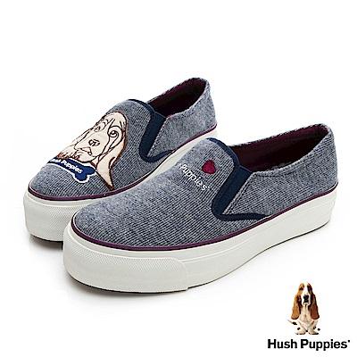 Hush Puppies 巴吉度狗Q版咖啡紗厚底便鞋-灰藍