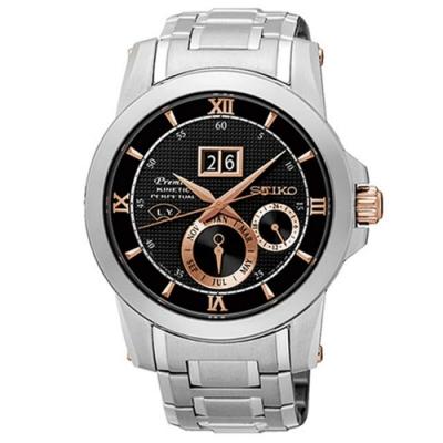 SEIKO精工 Kinetic帝國萬年曆大視窗不鏽鋼腕錶(41mm/7D48-0AR0D)
