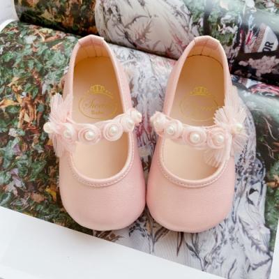 Swan天鵝童鞋-甜蜜夢境珍珠花朵學步寶寶鞋1588-粉