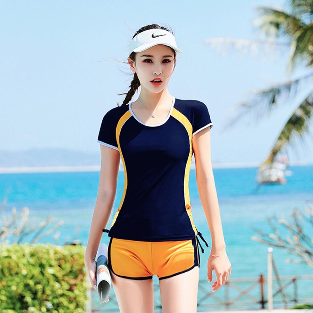 Biki比基尼妮,開朗少女學生泳衣二件式有加大泳衣(黃M-4XL)