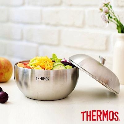 [時時樂](送餐具組)THERMOS膳魔師雙層不鏽鋼蘋果餐碗0.9L
