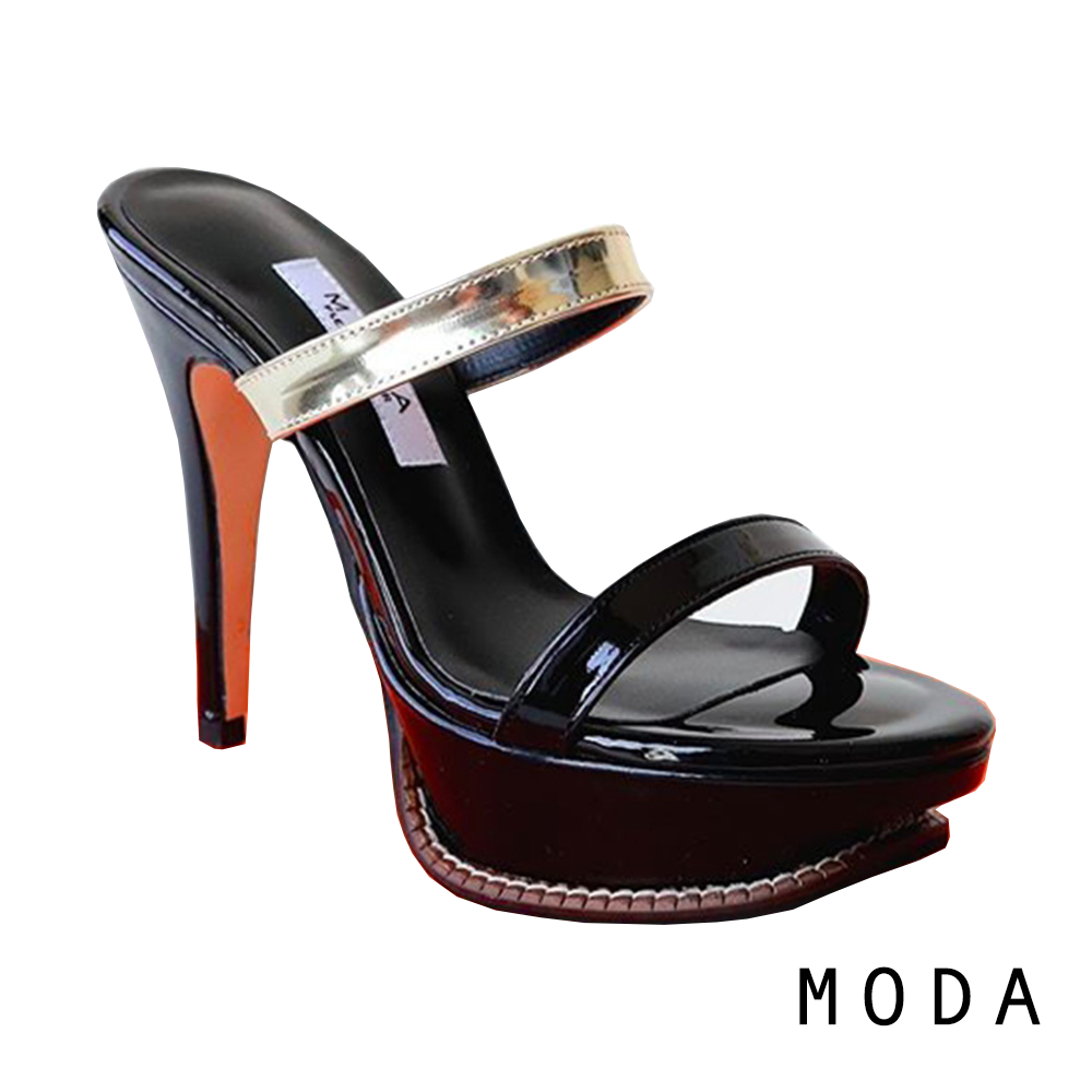 高跟鞋 正韓一字金屬設計露趾高跟涼鞋(黑金色)MODA