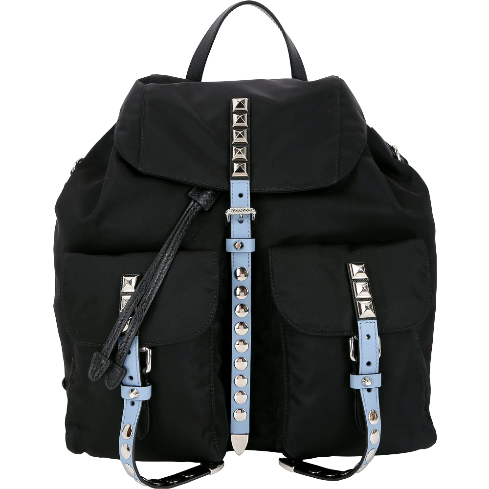 PRADA 水藍撞色皮革鉚釘尼龍後背包PRADA