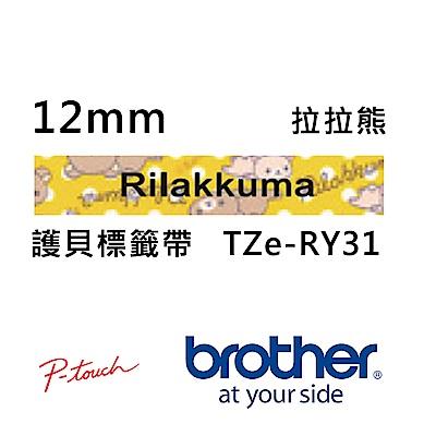 Brother TZe-RY31 拉拉熊 護貝標籤帶 ( 12mm 黃底黑字 )