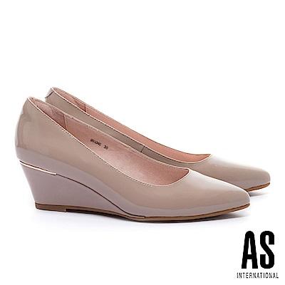 高跟鞋 AS 經典實穿超軟牛漆皮素面尖頭楔型高跟鞋-粉