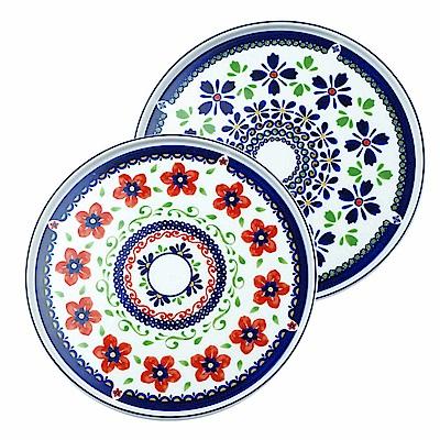 Caldo卡朵生活 天堂花園波蘭陶9吋骨瓷盤22.5cm