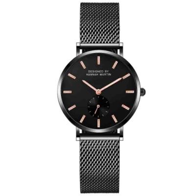 HANNAH MARTIN 寂靜黑極簡小秒針盤設計米蘭帶腕錶-黑/36mm