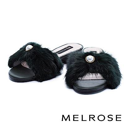 拖鞋 MELROSE 奢華珍珠設計貂毛粗低跟拖鞋-綠
