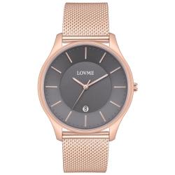 LOVME Simple米蘭帶款時尚手錶-IP玫x灰/41mm