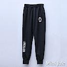Mini Jule 大童 長褲 盾牌造型刺繡英褲前雙口袋鬆緊長褲(黑)