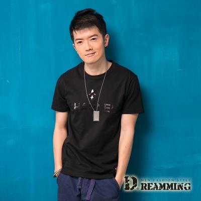 Dreamming 韓系街頭潮流CHANNEL圓領短T-黑色