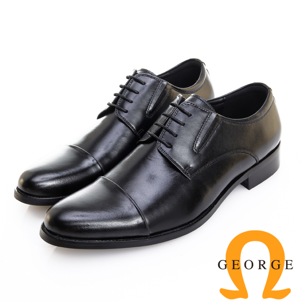 GEORGE 喬治皮鞋 職人系列 橫飾側V切口繫帶紳士鞋 -黑
