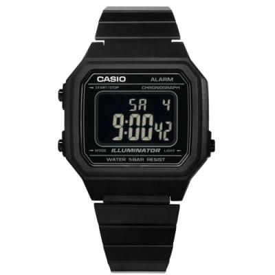 CASIO 卡西歐 復古文青 計時 防水 鬧鈴 不鏽鋼手錶 鍍黑色 B650WB-1B 38mm