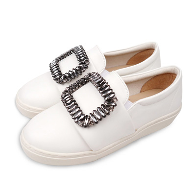 TTSNAP厚底樂福鞋-MIT方形水鑽牛紋真皮休閒鞋 白