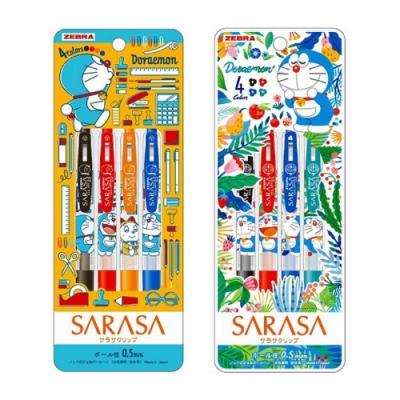 日本斑馬ZEBRA 哆啦A夢SARASA水性原子筆CLIP夾式4色0.5mm 860 2140 07/08系列(減壓橡膠筆握)