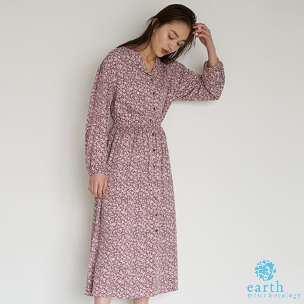 earth music 碎花/素面前開襟襯衫式收腰洋裝