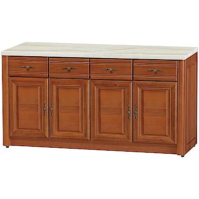 綠活居 伊森實木5.3尺雲紋石面餐櫃/收納櫃-157.5x45.5x82cm免組