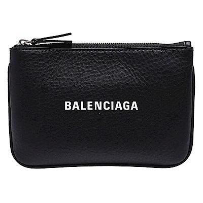 BALENCIAGA 經典Everyday品牌字母LOGO小牛皮拉鍊零錢包(黑)