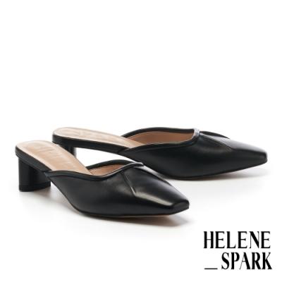穆勒鞋 HELENE SPARK 極簡時髦羊皮小抓皺方頭高跟穆勒拖鞋-黑
