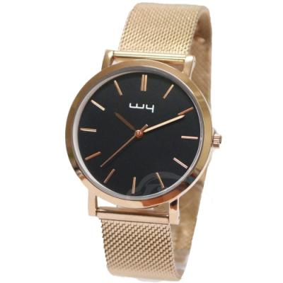 WY威亞簡約潮流米蘭玫帶中性錶-黑色錶盤