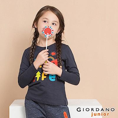 GIORDANO 童裝冒險旅程印花長袖T恤-42 標誌海軍藍
