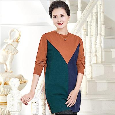 三色拼接針織長版衫-XL~3XL(共二色)-理子時尚