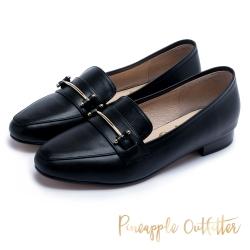 Pineapple Outfitter 英倫雅痞 一字金屬環扣真皮樂福鞋-黑色