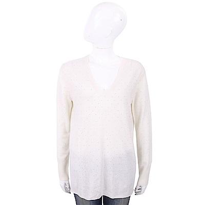 ALLUDE 喀什米爾白色星空鑽飾V領針織羊毛衫