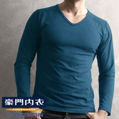 豪門PROMAN速熱暖絨V領長袖衫-外搭帥氣又保暖-M1860V-普魯士藍