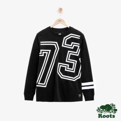 ROOTS女裝 線條長袖T恤-黑
