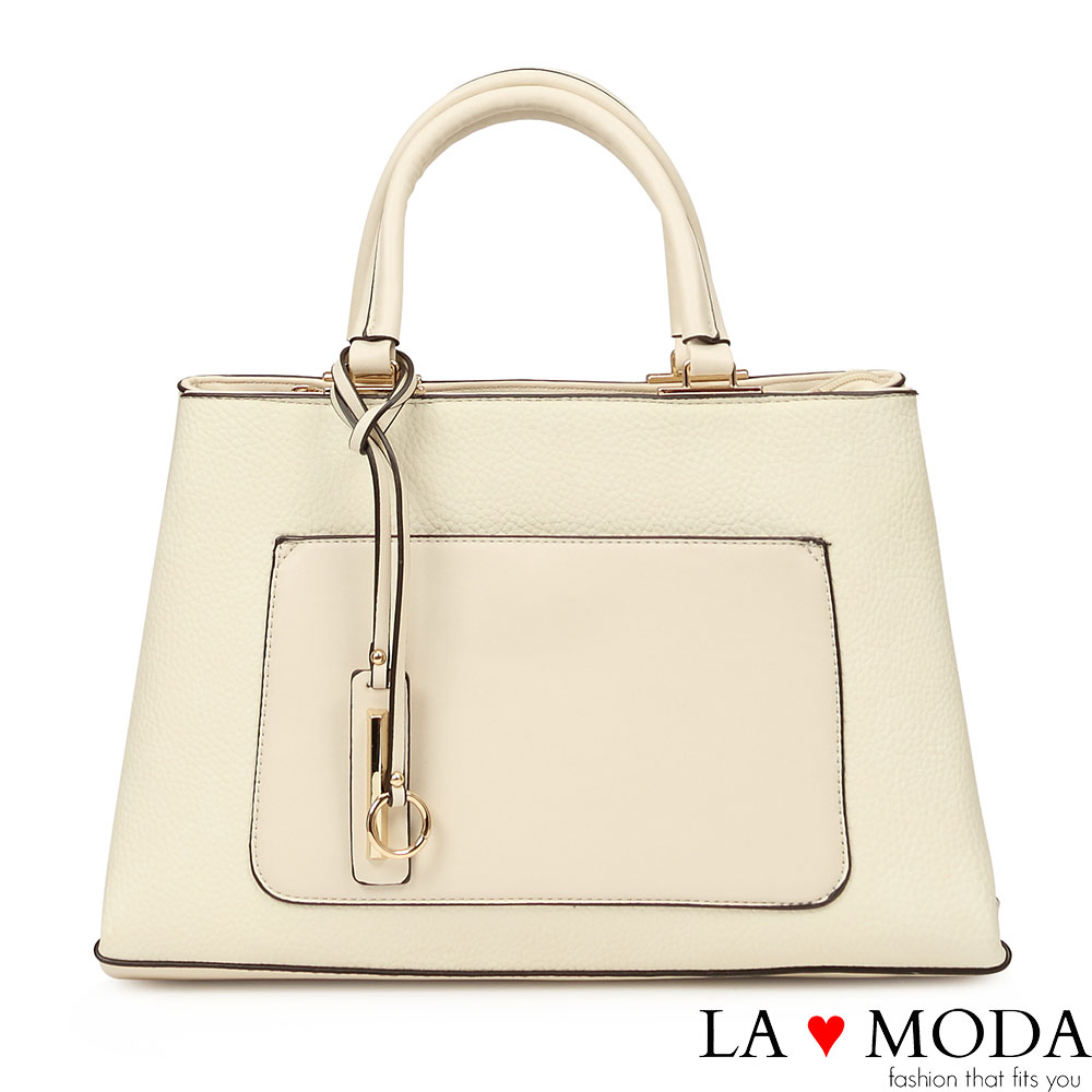 La Moda 時尚優雅Look~異材質拼接肩背斜背托特包(米白)