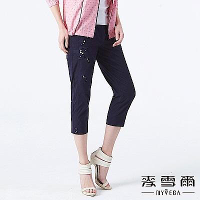 【麥雪爾】十字紋刺繡彈性八分褲