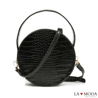 La Moda 時尚百搭設計感蛇紋壓紋漆皮輕巧肩背斜背小圓包(黑)