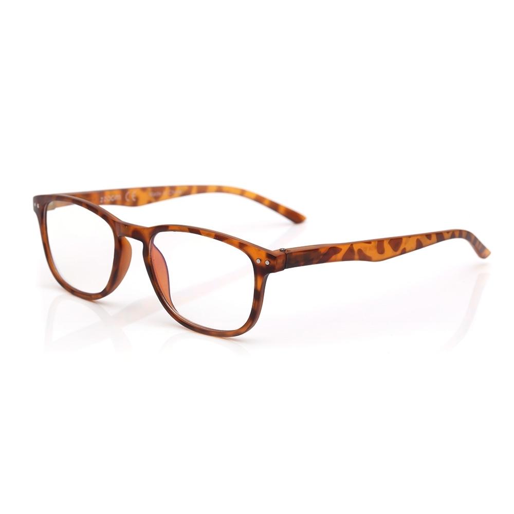 【 Z·ZOOM 】老花眼鏡/平光眼鏡 抗藍光防護系列 知性矩形細框款(黃豹紋色)