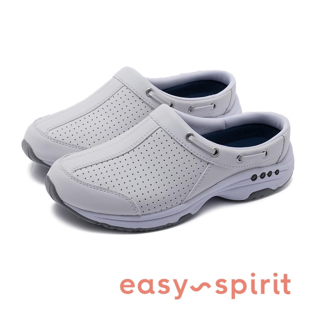 Easy Spirit-seTRAVE LPORT67 素色鞋帶裝飾設計透氣休閒拖鞋-白色