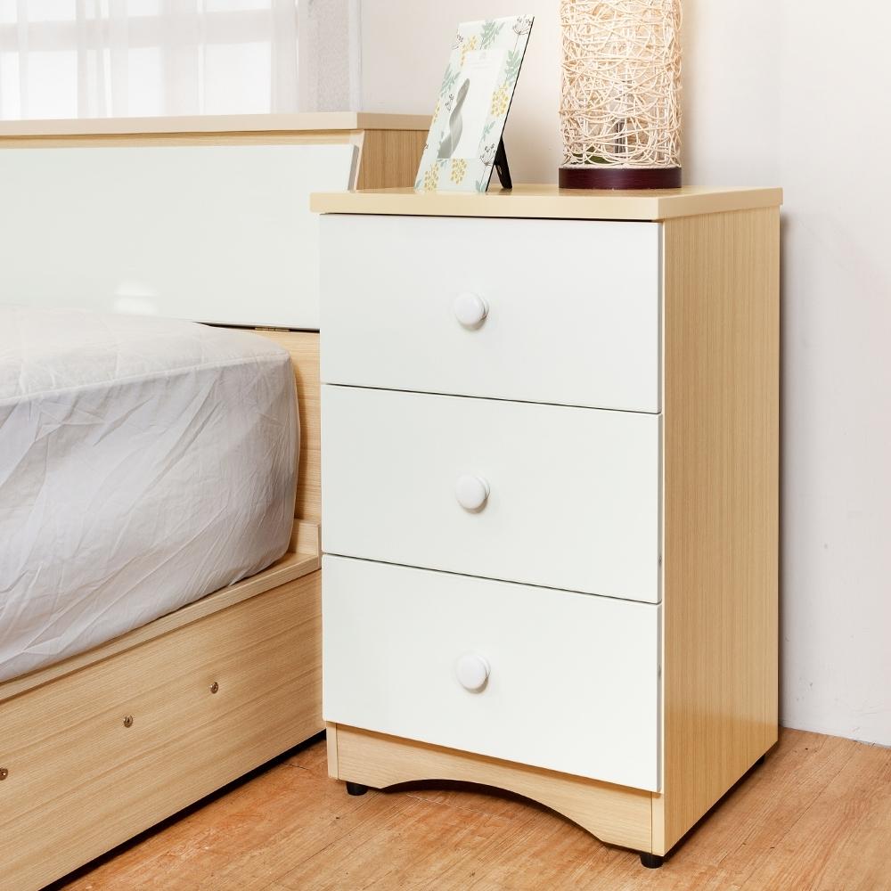 Birdie南亞塑鋼-1.5尺三抽塑鋼床頭櫃/收納櫃/置物櫃(白橡色+白色)-46x43x76cm