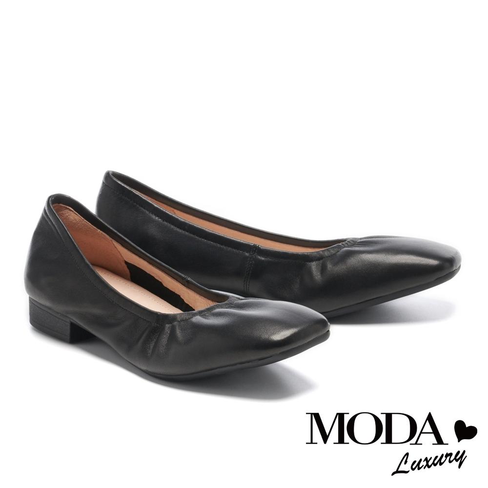 低跟鞋 MODA Luxury 極簡百搭全真皮方圓頭粗低跟鞋-黑