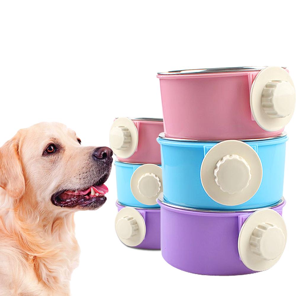 DYY》懸掛式圓型塑料不銹鋼狗掛碗大碗L號(顏色隨機出貨)