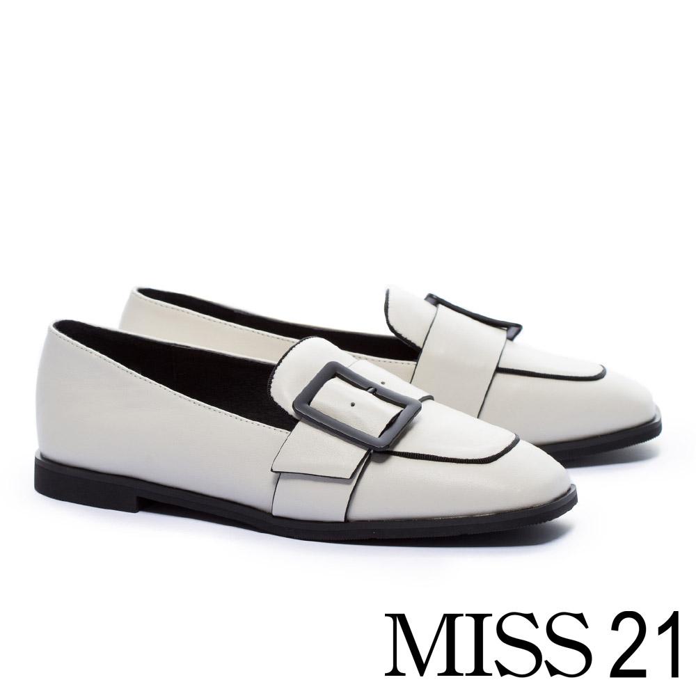 低跟鞋 MISS 21 復古文藝方釦帶全真皮方頭樂福低跟鞋-白 @ Y!購物
